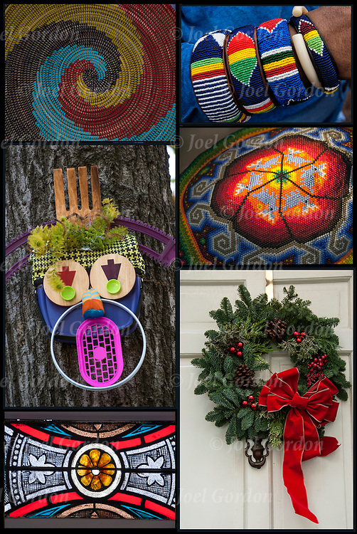 Montage of African Basket Weaving, African Bead Work , Recycled Art, Huichol Bead art, Stained Glass Windows and Christmas Wreath Decoration.