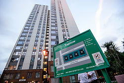 © Licensed to London News Pictures. 23/06/2017. London, UK. General view of the Taplow block at the Chalcots Estate in Camden where residents being evacuated after it failed a fire inspection because of combustable cladding. Prime Minister Theresa May has told Parliament that up to 600 high rise tower blocks may have similar cladding to that found in Grenfell Tower, which went on fire last week, in which as many as 79 residents are thought to have perished Photo credit: Ben Cawthra/LNP