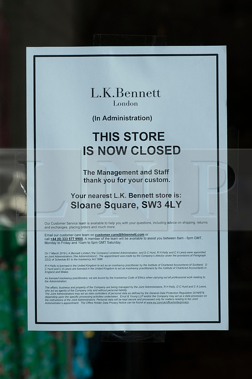 © Licensed to London News Pictures. 08/03/2019. London, UK. A closed LK Bennett store in Westbourne Grove store after the company went in to administration. The business, which has 39 shops and about 500 staff in the UK, signalled it was in difficulties last week after lining up EY as administrator if it could not find fresh financing. Photo credit: Ray Tang/LNP