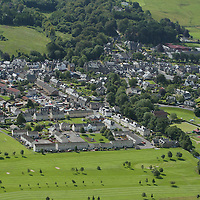 An aerial view of Aberfeldy, Perthshire<br /><br />Picture by Graeme Hart.<br />Copyright Perthshire Picture Agency<br />Tel: 01738 623350  Mobile: 07990 594431