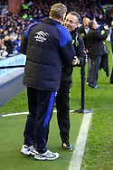 Picture by Paul Chesterton/Focus Images Ltd.  07904 640267.17/12/11.Norwich Manager Paul Lambert and Everton Manager David Moyes before the Barclays Premier League match at Goodison Park Stadium, Liverpool.