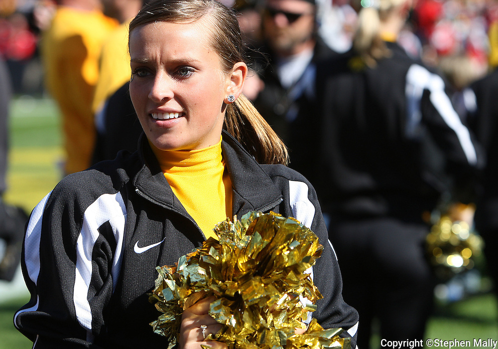 18 OCTOBER 2008: An Iowa dance team member after an Iowa touchdown in the second half of an NCAA college football game against Wisconsin, at Kinnick Stadium in Iowa City, Iowa on Saturday Oct. 18, 2008. Iowa won 38-16.