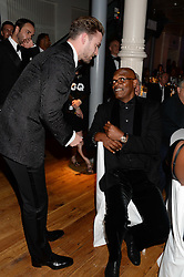 Left to right, JUSTIN TIMBERLAKE and SAMUEL L JACKSON at the GQ Men of The Year Awards 2013 in association with Hugo Boss held at the Royal Opera House, London on 3rd September 2013.