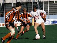 24.05.1987, Lahti, Finland..Mestaruussarja, FC Kuusysi v Reipas..Markus T?rnvall (Kuusysi) v Jarkko Kallio (Reipas).©JUHA TAMMINEN