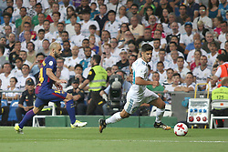 August 16, 2017 - Madrid, Spain - Marco Asensio with the ball pursued by Mascherano. Real Madrid defeated Barcelona 2-0 in the second leg of the Spanish Supercup football match at the Santiago Bernabeu stadium in Madrid, on August 16, 2017. (Credit Image: © Antonio Pozo/VW Pics via ZUMA Wire)