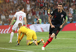 MOSCOW, July 11, 2018  Mario Mandzukic (R) of Croatia celebrates scoring during the 2018 FIFA World Cup semi-final match between England and Croatia in Moscow, Russia, July 11, 2018. (Credit Image: © Cao Can/Xinhua via ZUMA Wire)