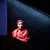 Picture shows :  Glasgow Girls Dress Rehearsal...Amaka Okafor..Picture © Drew Farrell. Tel 07721-735041...National Theatre of Scotland, Theatre Royal Stratford East, Citizens Theatre, Pachamama Productions, Richard Jordan Productions Ltd in association with Merrigong Theatre Company (Australia) present..WORLD PREMIERE of Glasgow Girls opens 31 October 2012 at the Citizens Theatre, Glasgow.Inspired by a true story.Conceived for the stage and directed by Cora Bissett. Book by David Greig.Music and Lyrics by Cora Bissett, Sumati Bhardwaj (MC Soom T), Patricia Panther and John Kielty.  Set Design by Merle Hensel, Musical Direction by Hilary Brooks, Choreography by Natasha Gilmore, Lighting Design by Lizzie Powell and Sound Design by Fergus O'Hare..The full cast is: Callum Cuthbertson, Ameira Darwish, Roanna Davidson, Stephanie McGregor, Myra McFadyen, Amaka Okafor, Patricia Panther, Dawn Sievewright and Frances Thorburn. ..Based on the true story of one of the most vocal and powerful asylum campaigns to catch the imagination of the media and inspire a community to unite behind its residents, Glasgow Girls is a brand new life-affirming Scottish musical with seven strong female leads and a vibrant multi-cultural voice at its heart. The musical promises to be a celebration of Glasgow and the power of teenagers with a cause.??The Glasgow Girls are a group of seven young women who have highlighted the poor treatment of failed asylum seekers. The group of girls from Drumchapel High School protested against the detention of one of their friends, Agnesa Murselaj, who had fled from war-torn Kosovo. Publicity grew as the girls challenged the First Minister and publicly voiced their concerns as more children at their school were dawn raided, detained and deported. Two BBC television documentaries have been made of their story. .Press contacts:..Clare McCormack, Press Officer.Tel: +44 (0)141 227 9497/ +44 (0)7989 950871    E: clare.mccormack@nationaltheatrescotland.com..Press conta