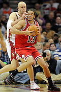 Apr 19, 2010; Cleveland, OH, USA; Cleveland Cavaliers center Zydrunas Ilgauskas (11) puts pressure on Chicago Bulls center Joakim Noah (13) during the first period in game two in the first round of the 2010 NBA playoffs at Quicken Loans Arena. Mandatory Credit: Jason Miller-US PRESSWIRE