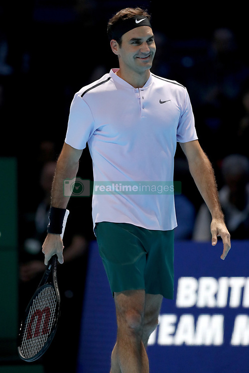 Roger Federer reacts his match against Jack Sock during day one of the NITTO ATP World Tour Finals at the O2 Arena, London.