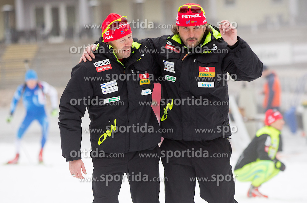 Uros Velepec and Tomas Kos during practice session of Slovenian biathlon team before new winter season 2012/13 on November 19, 2012 in Rudno polje, Pokljuka, Slovenia. (Photo By Vid Ponikvar / Sportida)