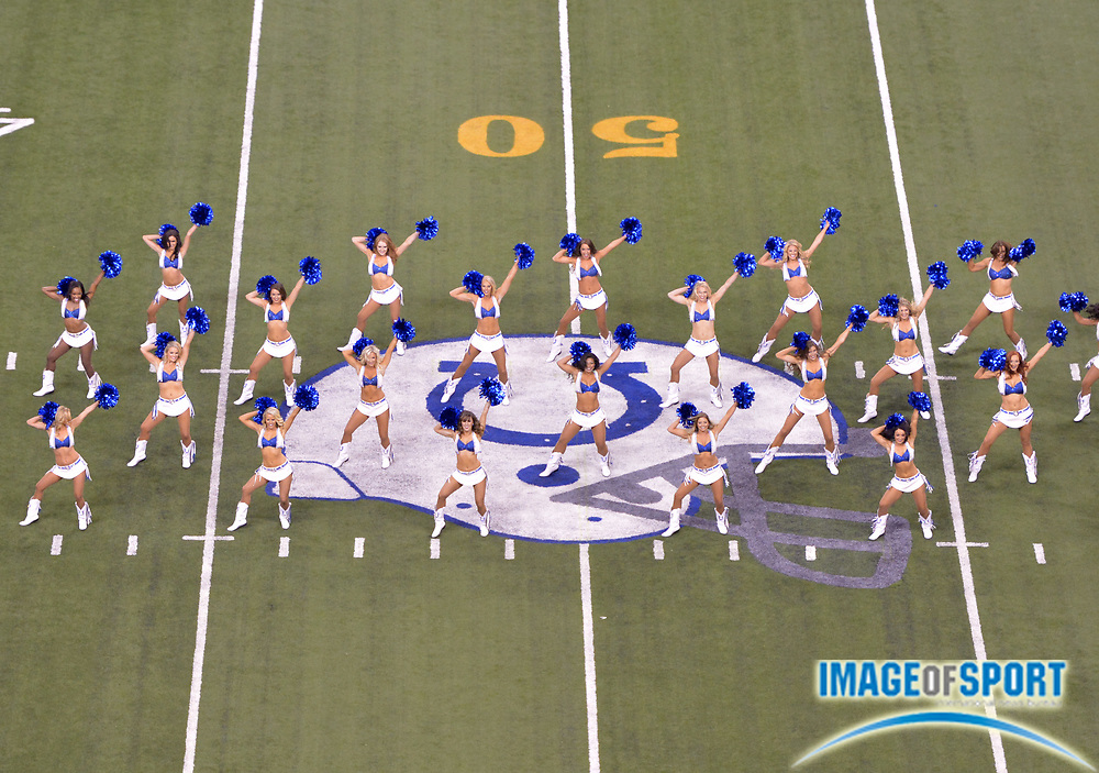 Sep 21, 2015; Indianapolis, IN, USA; Indianapolis Colts cheerleaders perform during an NFL football game against the New York Jets at Lucas Oil Stadium.