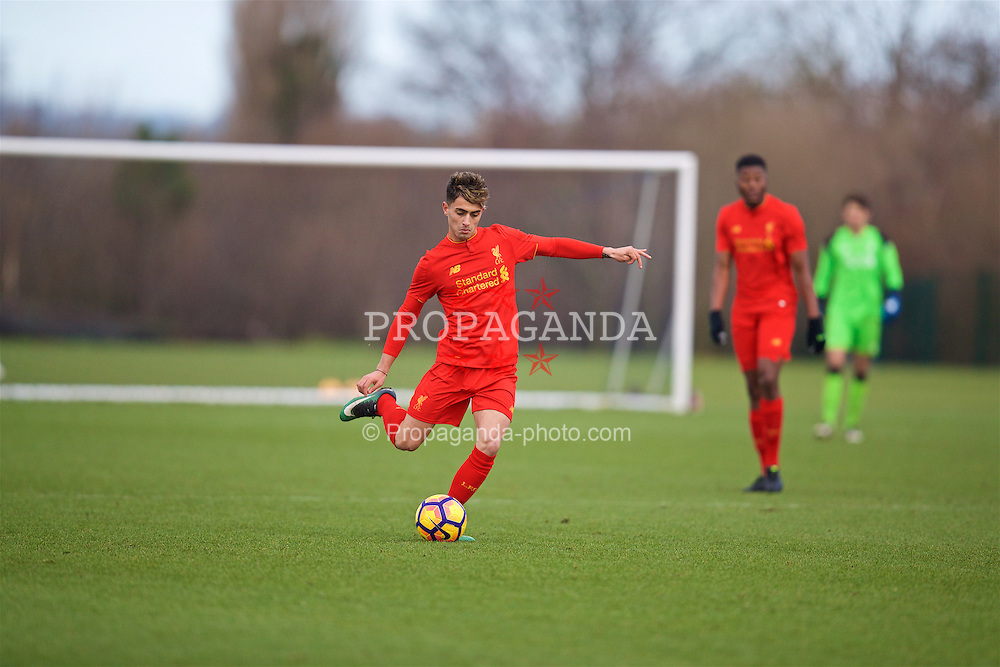 HALEWOOD, ENGLAND - Saturday, January 14, 2017: Liverpool's Yan Dhanda in action against Everton during an Under-18 FA Premier League match at Finch Farm. (Pic by David Rawcliffe/Propaganda)