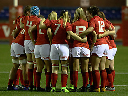 Wales Women huddle before kick off<br /> <br /> Photographer Simon King/Replay Images<br /> <br /> Friendly - Wales Women v Hong Kong Women - Friday  16th November 2018 - Cardiff Arms Park - Cardiff<br /> <br /> World Copyright © Replay Images . All rights reserved. info@replayimages.co.uk - http://replayimages.co.uk