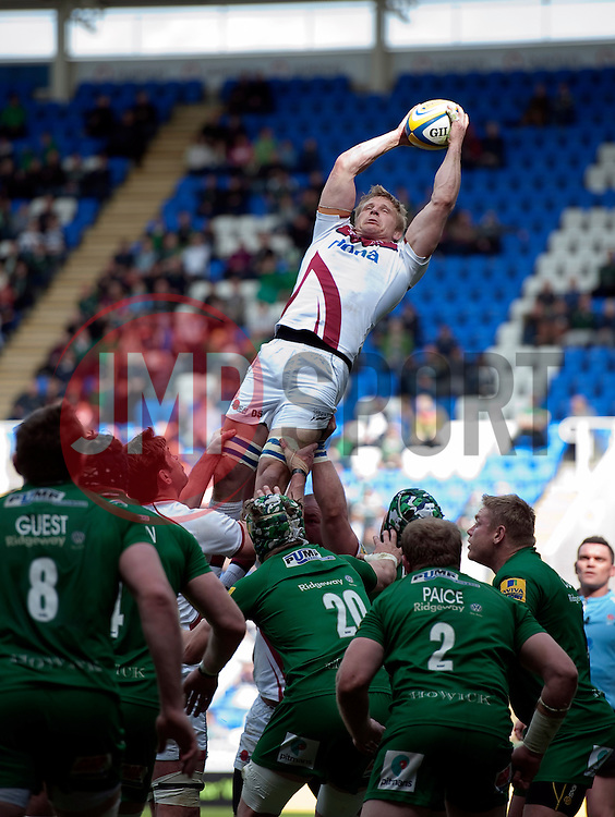 David Seymour of Sale Sharks wins the ball at a lineout - Photo mandatory by-line: Patrick Khachfe/JMP - Mobile: 07966 386802 12/04/2015 - SPORT - RUGBY UNION - Reading - Madejski Stadium - London Irish v Sale Sharks - Aviva Premiership