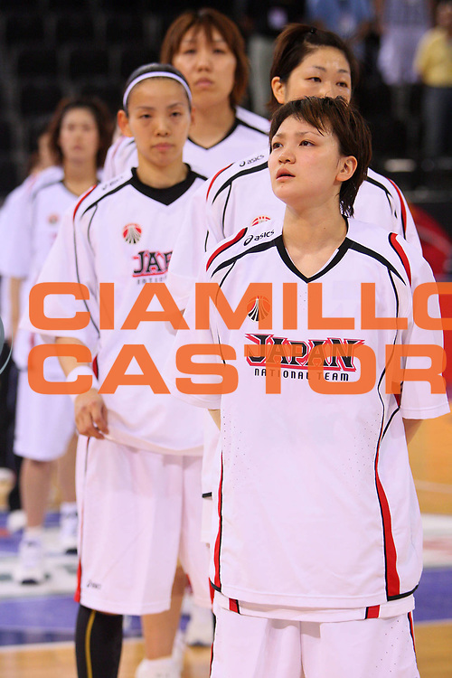 DESCRIZIONE : Madrid 2008 Fiba Olympic Qualifying Tournament For Women Semifinals Cuba Japan <br /> GIOCATORE : Team Giappone Team Japan National Anthem Inno Nazionale <br /> SQUADRA : Japan Giappone <br /> EVENTO : 2008 Fiba Olympic Qualifying Tournament For Women <br /> GARA : Cuba Japan Cuba Giappone <br /> DATA : 14/06/2008 <br /> CATEGORIA : <br /> SPORT : Pallacanestro <br /> AUTORE : Agenzia Ciamillo-Castoria/S.Silvestri <br /> Galleria : 2008 Fiba Olympic Qualifying Tournament For Women<br /> Fotonotizia : Madrid 2008 Fiba Olympic Qualifying Tournament For Women Semifinals Cuba Japan <br /> Predefinita :