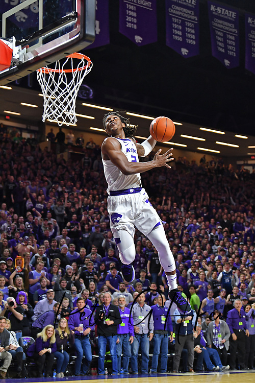 MANHATTAN, KS - FEBRUARY 05:  Cartier Diarra #2 of the Kansas State Wildcats drives to the basket for a dunk against the Kansas Jayhawks during the second half on February 5, 2019 at Bramlage Coliseum in Manhattan, Kansas.  (Photo by Peter G. Aiken/Getty Images)
