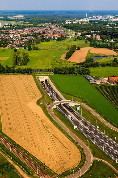 Nederland, Limburg, Roermond, 27-05-2013; Roertunnel in A73. Aangelegd om natuur van het Roerdal te ontzien, omgeving van Lerop. De rivier de Roer meandert er overheen.<br /> Roer Tunnel in A73 constructed to protect the nature of the Roer valley near Roermond. The river Roer meandering at the entrance of the tunnel.<br /> luchtfoto (toeslag op standard tarieven)<br /> aerial photo (additional fee required)<br /> copyright foto/photo Siebe Swart
