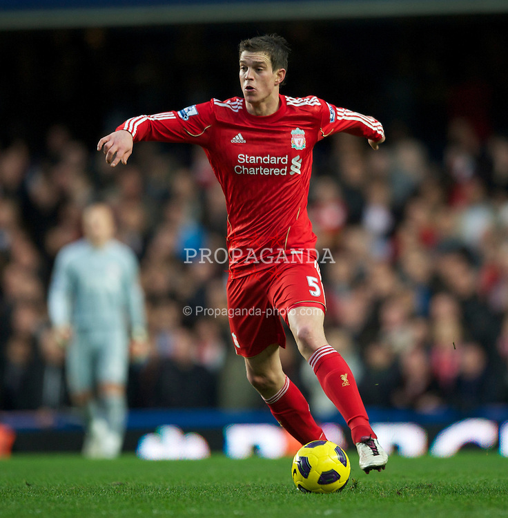 LONDON, ENGLAND - Sunday, February 6, 2011: Liverpool's Daniel Agger in action against Chelsea during the Premiership match at Stamford Bridge. (Photo by Chris Brunskill/Propaganda)