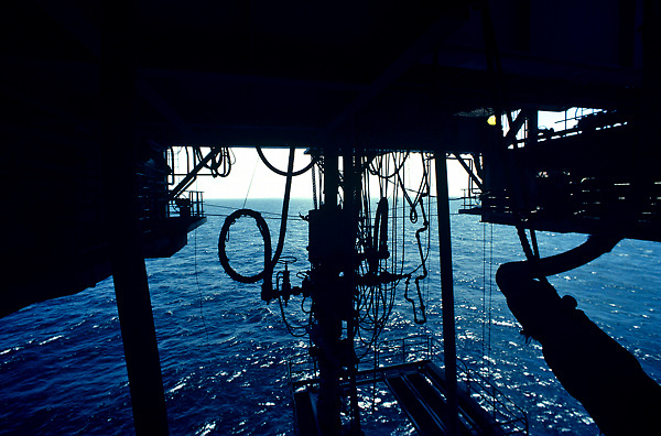 Stock photo of the underside of a jack up rig