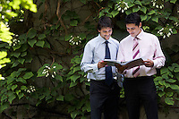 Two happy businessmen in park examining files