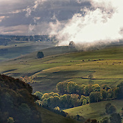 Clouds over an Autumn scenery in the Auvergne. Cèsallier