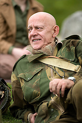 Reenactor from Northern World War Two Association, portraying the 6th Airborne Division 22nd Independent Company stop for a braek during a private 24hr excerise, held at Sutton Grange, near Ripon in Yorkshire 15  May 2010 .Images © Paul David Drabble