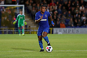 AFC Wimbledon Kyron Stabana (14) dribbling during the Pre-Season Friendly match between AFC Wimbledon and Crystal Palace at the Cherry Red Records Stadium, Kingston, England on 30 July 2019.