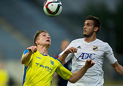 Dobrovoljc Gaber of NK Domzale vs Bojic Petar of FK Cukaricki during 1st Leg football match between NK Domzale (SLO) na FC Cukaricki (SRB) in 1st Round of Europe League 2015/2016 Qualifications, on July 2, 2015 in Sports park Domzale,  Slovenia. Photo by Vid Ponikvar / Sportida