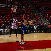 24 February 2018: The San Diego State women's basketball team closes out it's home schedule of the regular season Saturday afternoon against San Jose State. San Diego State Aztecs guard McKynzie Fort (15) attempts a layup on a fast break in the first half. At halftime the Aztecs lead the Spartans 36-33 at Viejas Arena.<br /> More game action at sdsuaztecphotos.com