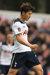 12 March 2017 - The FA Cup - (Sixth Round) - Tottenham Hotspur v Millwall - Son Heung-min of Tottenham Hotspur celebrates - Photo: Marc Atkins / Offside.