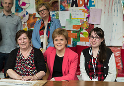 Scottish National Party leader, Nicola Sturgeon, joins Council candidates in Edinburgh to launch the SNP's manifesto for the 2017 Local Government election.<br /> <br /> <br /> Pictured: First Minister, Nicola Sturgeon with users of the WHALE Community Arts Centre