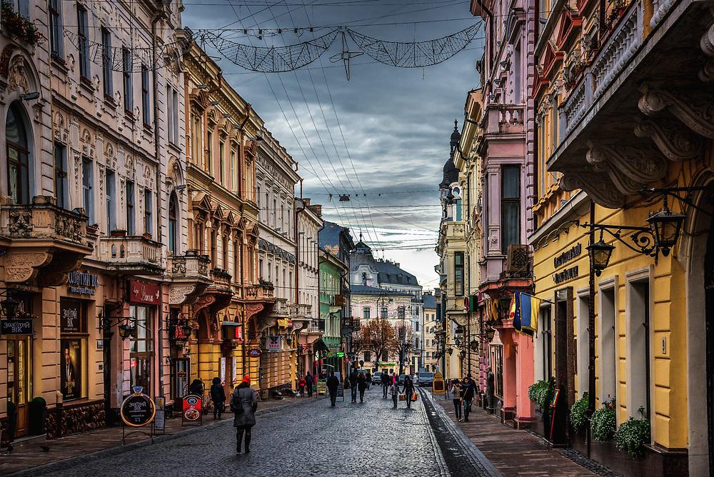 Olha Kobylianska Street in Chernivtsi, Ukraine
