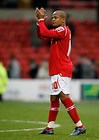 Photo: Richard Lane/Richard Lane Photography. Nottingham Forest v Cardiff City. Coca Cola Championship. 24/10/2008. Rob Earnshaw acknowledges the Welsh fans