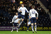 Preston North End Striker Will Keane clears during the Sky Bet Championship match between Preston North End and Birmingham City at Deepdale, Preston, England on 15 December 2015. Photo by Pete Burns.
