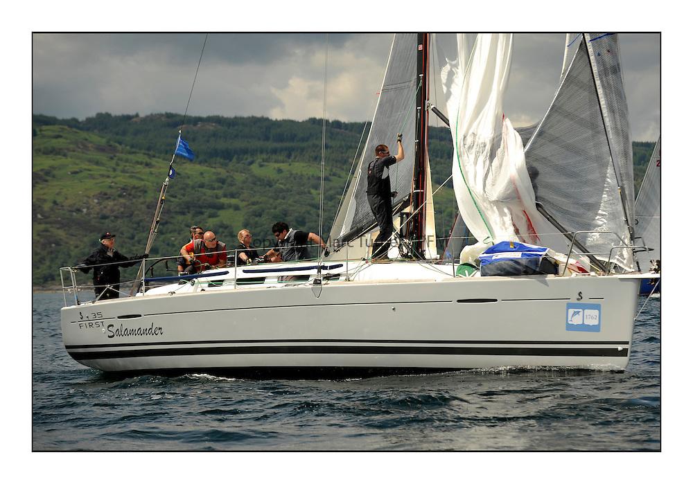 Brewin Dolphin Scottish Series 2012, Tarbert Loch Fyne - Yachting - Day 1 - Bowmore Fleet..FRA37296, Salamander XXI ,John Corson ,CCC , First 35.