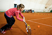 Children during tennis training session at Tie Break Tennis Club in Warsaw.<br /> <br /> Poland, Warsaw, October 10, 2013<br /> <br /> Picture also available in RAW (NEF) or TIFF format on special request.<br /> <br /> For editorial use only. Any commercial or promotional use requires permission.<br /> <br /> Mandatory credit:<br /> Photo by &copy; Adam Nurkiewicz / Mediasport