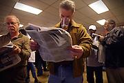 Arkansas Democrat-Gazette/BENJAMIN KRAIN 4-12-08<br /> David Carpenter, of Little Rock, looks over a racing form before betting on a horse in the Arkansas Derby at Oaklawn Staurday.