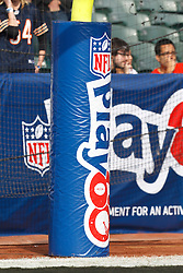 Nov 27, 2011; Oakland, CA, USA; Detailed view of the goal post padding promoting the NFL Play60 campaign before the game between the Oakland Raiders and the Chicago Bears at O.co Coliseum. Oakland defeated Chicago 25-20. Mandatory Credit: Jason O. Watson-US PRESSWIRE