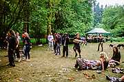 Ravers in forest, Wales, 2012.