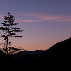Dawn over Crawford Notch as seen from the Elephant Head lookout.  Crawford Notch State Park.  White Mountains, NH.
