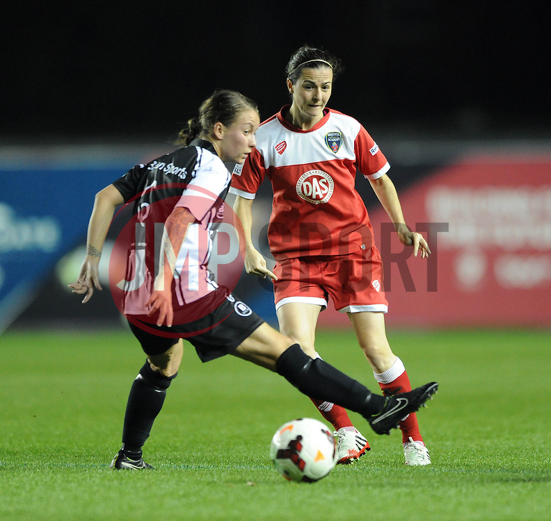Bristol Academy Womens' Natalia Pablos Sanchon passes the ball under pressure - Photo mandatory by-line: Dougie Allward/JMP - Mobile: 07966 386802 - 16/10/2014 - SPORT - Football - Bristol - Ashton Gate - Bristol Academy v Raheny United - Women's Champions League
