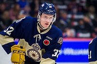 REGINA, SK - MAY 18: Robbie Holmes #32 of Regina Pats warms up against the Hamilton Bulldogs at the Brandt Centre on May 18, 2018 in Regina, Canada. (Photo by Marissa Baecker/Shoot the Breeze)