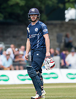 EDINBURGH, SCOTLAND - JUNE 10: Scotland opener Matthew Cross leaves the field after being caught behind for a fine 48 in the first innings of the one-off ODI at the Grange Cricket Club on June 10, 2018 in Edinburgh, Scotland. (Photo by MB Media/Getty Images)