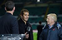 05/11/15 UEFA EUROPA LEAGUE GROUP STAGE<br /> CELTIC v MOLDE FK<br /> CELTIC PARK - GLASGOW<br /> Former Celtic star Stiliyan Petrov and Scotland manager Gordon Strachan (right) speak to BT Sport.