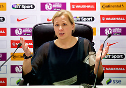 SOUTHAMPTON, ENGLAND - Friday, April 6, 2018: Wales' manager Jayne Ludlow during a post-match press conference after a hard fought goal-less draw against England during the FIFA Women's World Cup 2019 Qualifying Round Group 1 match between England and Wales at St. Mary's Stadium. (Pic by David Rawcliffe/Propaganda)