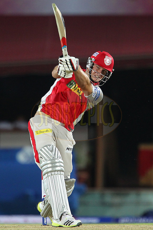 David Miller launches a huge six during match 67 of the Pepsi Indian Premier League between The Kings XI Punjab and the Delhi Daredevils held at the HPCA Stadium in Dharamsala, Himachal Pradesh, India on the on the 16th May 2013..Photo by Ron Gaunt-IPL-SPORTZPICS ..Use of this image is subject to the terms and conditions as outlined by the BCCI. These terms can be found by following this link:..http://www.sportzpics.co.za/image/I0000SoRagM2cIEc
