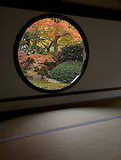 "Windows in meditation room at Genkoan Temple in Kyoto Japan.  The round window is called ""Window of the Spiritual Awakening.""  The nearby Square window is called the ""Window of the Trouble"" as it is a symbolic expression of human life representative of the 4 pains of mankind, birth aging and disease and death."