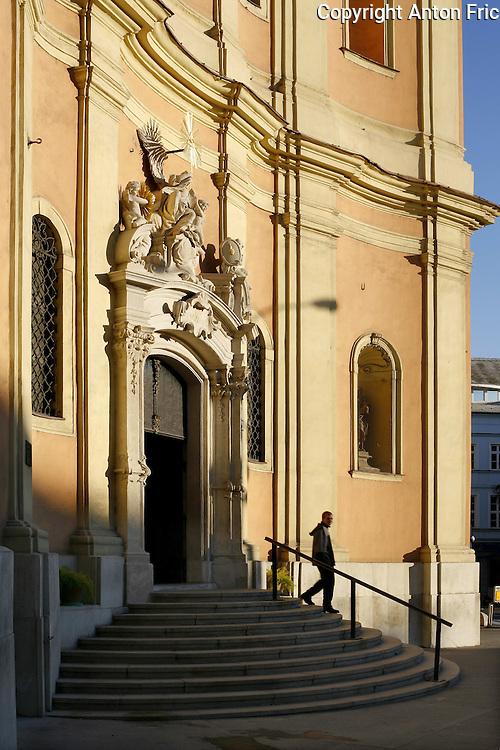 The Trinity Church of Saint John of Matha in capital city of Slovakia - Bratislava. Kostol sv. Trojice na Trojicnom namesti v Bratislave.