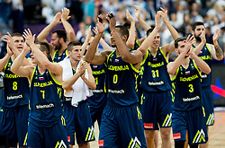 Klemen Prepelic of Slovenia, Aleksej Nikolic of Slovenia, Anthony Randolph of Slovenia, Vlatko Cancar of Slovenia, Goran Dragic of Slovenia  celebrate after winning during basketball match between National Teams of Finland and Slovenia at Day 3 of the FIBA EuroBasket 2017 at Hartwall Arena in Helsinki, Finland on September 2, 2017. Photo by Vid Ponikvar / Sportida