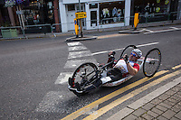 The leaders pass through Wimbledon Village during the Prudential RideLondon Handcycle Classic, Sunday 2nd August 2015. <br /> <br /> Prudential RideLondon is the world's greatest festival of cycling, involving 95,000+ cyclists – from Olympic champions to a free family fun ride - riding in five events over closed roads in London and Surrey over the weekend of 1st and 2nd August 2015. <br /> <br /> Photo: Jeff Moore for Prudential RideLondon <br /> <br /> See www.PrudentialRideLondon.co.uk for more.<br /> <br /> For further information: Penny Dain 07799 170433<br /> pennyd@ridelondon.co.uk